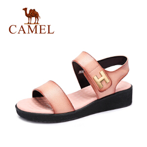 camel骆驼女鞋 时尚休闲 头层摔纹牛皮魔术贴春夏新款女凉鞋