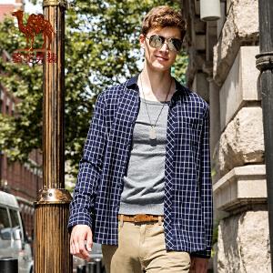 骆驼男装 秋季新款修身简约时尚格子男士衬衫商务休闲男长袖