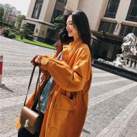 风衣女中长款韩版春季2018新款韩版姜黄色细带收腰大口袋宽松外套 姜黄色