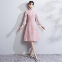 20180915000307530少女旗袍连衣裙2017新款粉色中长款改良版冬季长袖学生年会礼服女