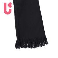 UGOCCAM2017夏装新款女黑色修身显瘦磨毛微喇叭裤九分裤牛仔裤