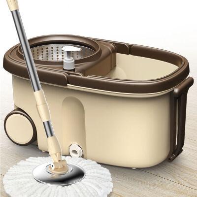 升级款加大加厚免手洗拖把旋转拖把桶拖布家用拖地桶拖布桶墩布桶-全套(金属篮+1拖把头+加强杆+金属盘)