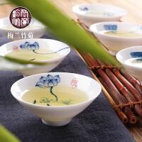 景德镇青花瓷手绘斗笠功夫茶具小茶杯品茗杯子喝茶陶瓷器茶盏茶碗