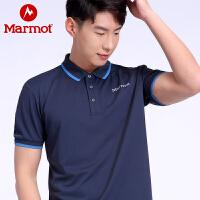 Marmot/土拨鼠春夏新款户外运动男士轻量透气速干短袖休闲商务POLO衫