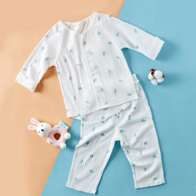 全棉时代 婴儿针织抽针罗纹长袖套装上衣 1套装