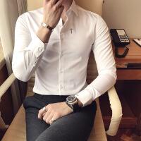 衬衫男学生白衬衫男长袖修身韩版纯色潮流刺绣寸衫帅气2018秋季新款男士衬衣u005