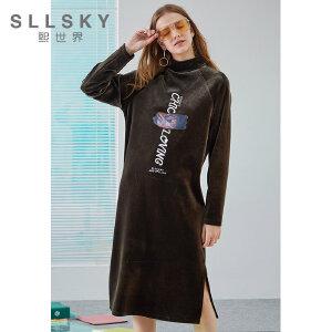 熙世界丝绒T恤裙2018秋季新款中长款宽松加厚长袖连衣裙113SL041