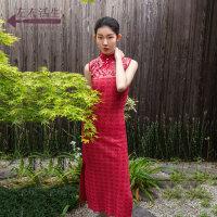 生活在左2019秋季女装新品红色针织提花改良版旗袍中国风连衣裙子