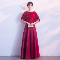 红色敬酒服新娘2018新款夏春季长款优雅显瘦公主结婚晚礼服女时尚 酒红色
