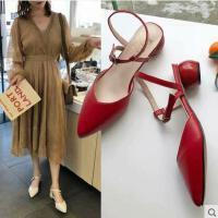 尖头高跟鞋女百搭潮款新款韩版一字扣包头凉鞋时尚粗跟仙女鞋