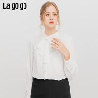 Lagogo/拉谷谷2019新款单排扣领口蝴蝶结系带衬衫女ICCC43XC15