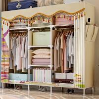 索尔诺 衣柜简易布衣柜 加固25mm钢管加厚加精全钢架布艺 防潮组装收纳柜子大空间双人布衣柜