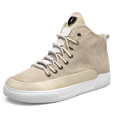 男鞋冬季帆布高帮鞋男士韩版潮流ins板鞋学生百搭增高潮鞋