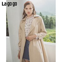 Lgogo/拉谷谷2019年秋季现款时尚高腰修身长款风衣女ICFF237A51