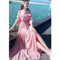 新款吊带一字领海边度假沙滩裙修身显瘦长裙小香风露肩雪纺连衣裙 支持礼品卡