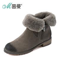 茵曼女鞋范玮琪 2016冬季新品文艺复古保暖冬靴牛皮羊毛雪地靴