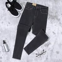 烟灰色牛仔裤女长裤高腰弹力紧身小脚裤显瘦深灰色加绒加厚铅笔裤