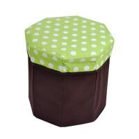 卡秀 收纳 圆点八角 储物凳 折叠收纳凳 百纳箱(绿色)JJJ109-10
