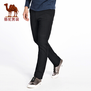 骆驼男装 秋季新款微弹中腰直筒小脚修身男士青年休闲长裤