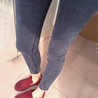 春季高腰韩国牛仔裤女烟灰色长裤学生显瘦弹力九分铅笔紧身小脚裤