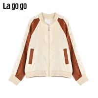 Lagogo/拉谷谷2020新款撞色插肩袖短外套女JAWW211C51