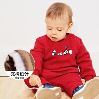【满200减40/满300减80】迷你巴拉巴拉婴儿宝宝长袖套装2018冬季新款印花加绒加厚两件套