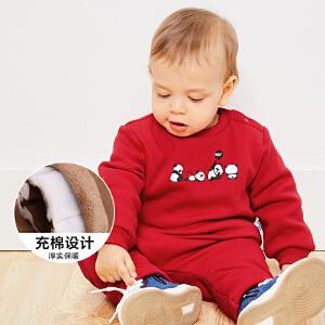 【尾品价:105】迷你巴拉巴拉婴儿宝宝长袖套装2018冬季新款印花加绒加厚两件套