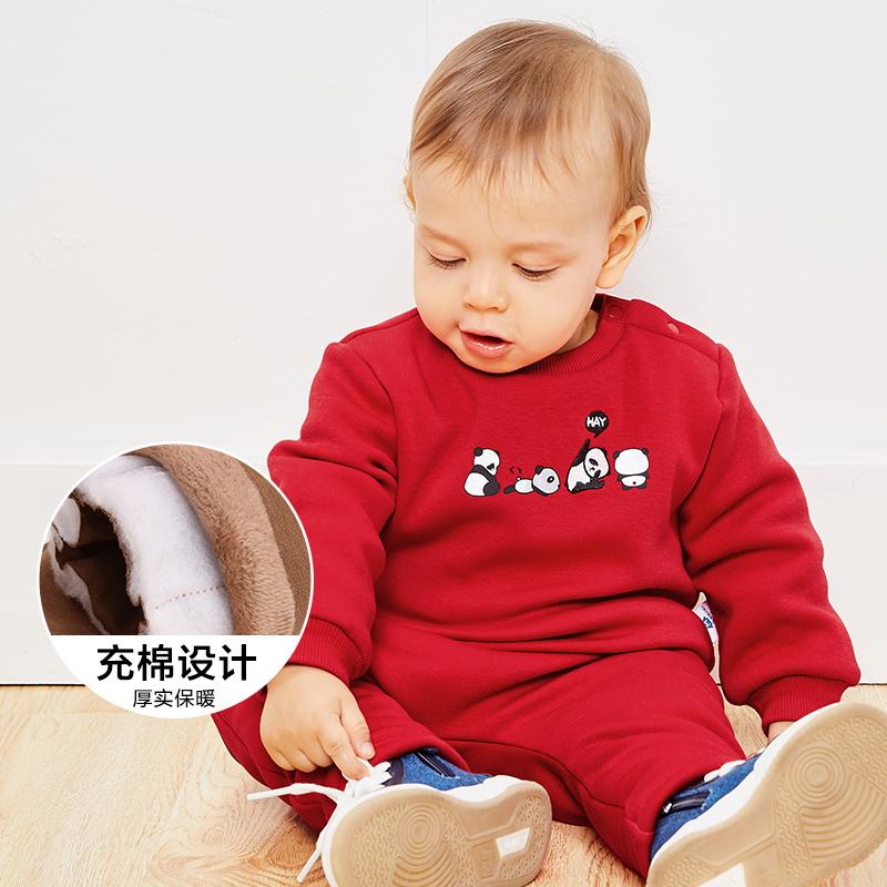 【满200减130】迷你巴拉巴拉婴儿宝宝长袖套装冬季新款印花加绒加厚两件套