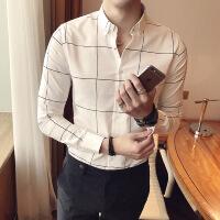 2018秋季新款潮男士格子衬衣男装纯棉长袖休闲修身衬衫