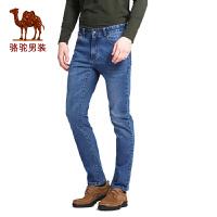 骆驼男装 春秋季时尚修身小脚牛仔裤商务休闲长裤子 男