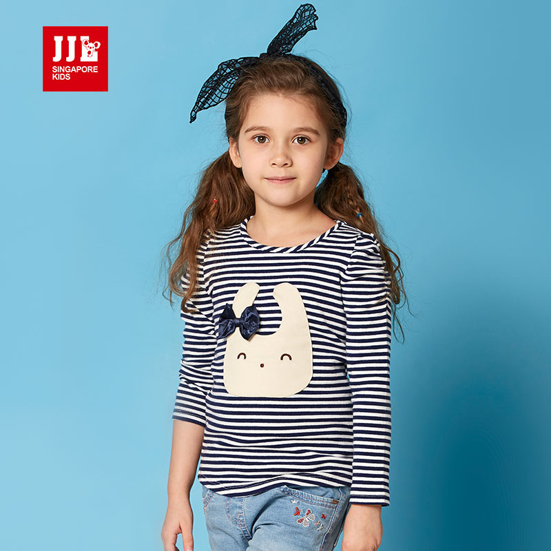 jjlkids季季乐童装春秋季女童T恤时尚休闲中小童长袖圆领T恤GCT53101