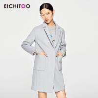 2018爱居兔冬装纯色中长款大衣