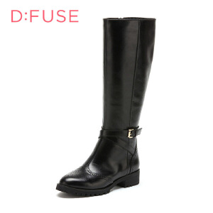 【星期六集团大牌日】迪芙斯(D:FUSE)女靴 油蜡牛皮粗跟尖头时尚长靴 DF54116004