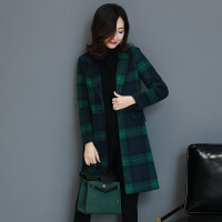 秋冬毛呢格子西装外套女矮个子2017新款时尚韩版修身中长款西服