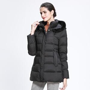 坦博尔新款中老年羽绒服女中长款宽松毛领连帽冬季保暖外套TB3376