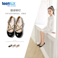 【大牌�r:131.7元】天美意teenmix童鞋女童漆面皮鞋2020年秋季新品中小童�T��底公主鞋�和��涡�