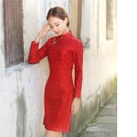 中式女礼服蕾丝旗袍蕾丝修身宴会晚礼服旗袍改良中国风连衣裙女装