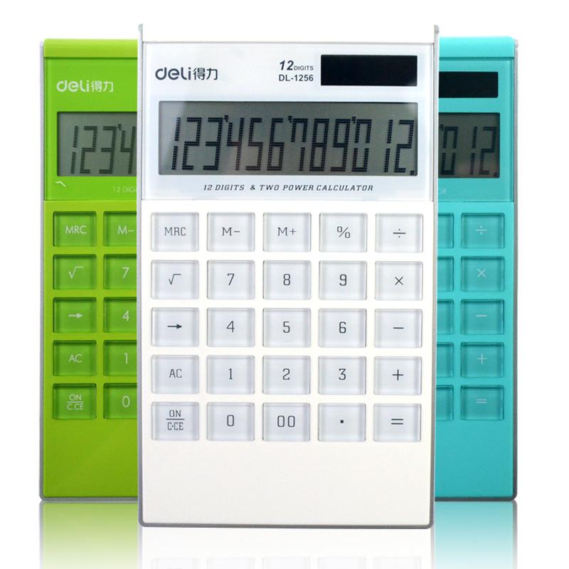 得力1256计算器超薄卡片计算器可爱韩国创意直板计算机透明大按键 全场满50元包邮,新疆西藏除外