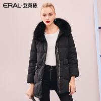 ERAL/艾莱依2018冬季羽绒服女中长款大毛领大衣617103007