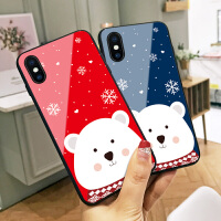 圣诞节红色小熊苹果7plus手机壳x可爱卡通xs max新年情侣款iphone6玻璃8p硅胶软边7个性创意xr全包8男