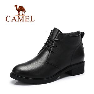Camel/骆驼女鞋  春季新品 纯色时尚休闲马丁靴 系带女靴