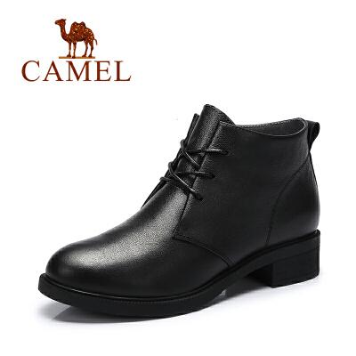 【领卷下单立减120元】Camel/骆驼女鞋  春季新品 纯色时尚休闲马丁靴 系带女靴