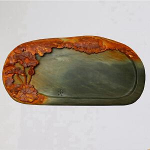 中国非物质文化遗产传承人群 钟景锐作品《荷塘秋色》茶盘 绿端