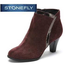 【3折到手价140.7元】STONEFLY/斯通富来冬季时尚侧拉链职业时尚短靴复古百搭女靴裸靴SD44117083