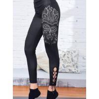 印花 瑜伽裤女紧身运动跑步裤 健身 裤女士弹力速干九分裤 支持礼品卡