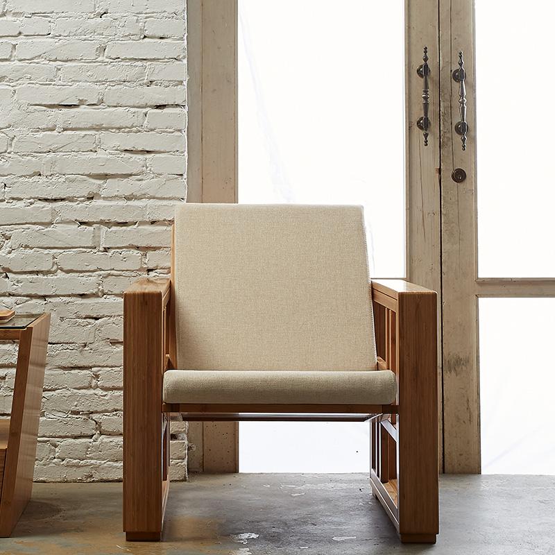 橙舍 日式休闲沙发椅 可拆洗布艺单人原竹沙发椅子创意现代简约休闲沙发