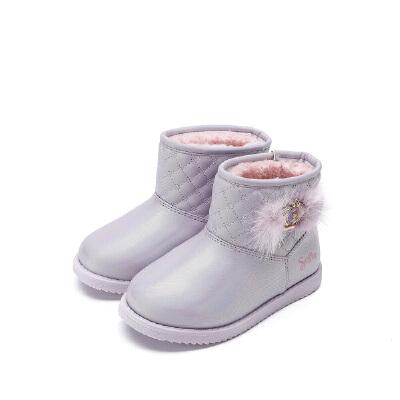 【99元任选2双】迪士尼Disney童鞋女童雪地靴靴子时尚马丁靴  K01365 S73570 S75887 【开学季:限时99元2双】