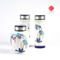 唐马仕兰韵白瓷保温杯茶叶罐三件套礼盒送客户企业实用礼品送老外