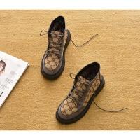 2019春秋平跟短靴单靴平底马丁靴短筒厚底鞋圆头及踝靴女靴子 35 单层