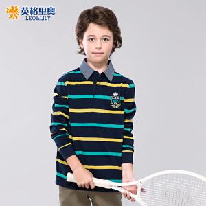 袖T恤儿童打底衫中大童条纹翻领POLO衫潮